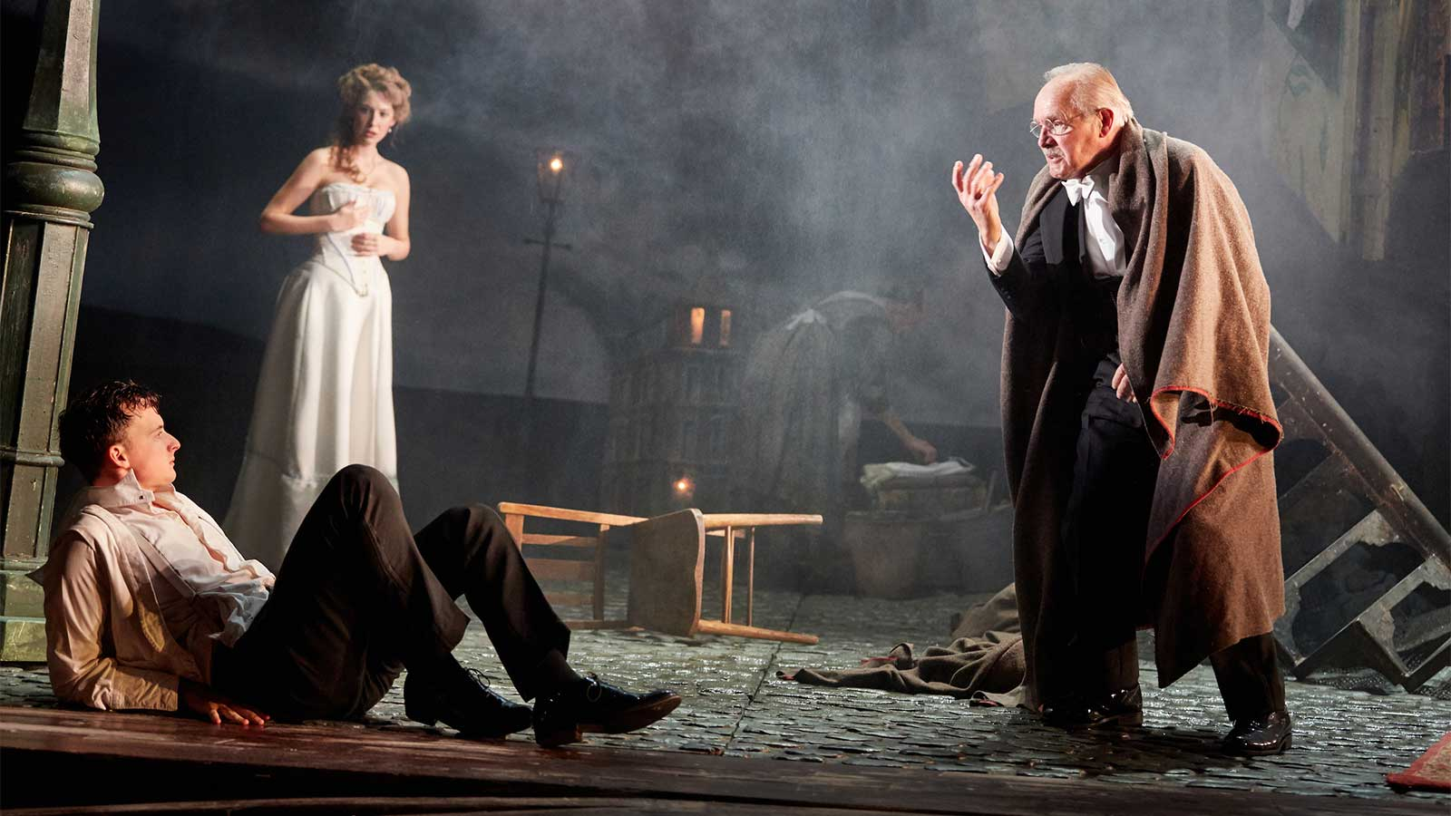 An Inspector Calls At The Playhouse Theatre Hamish Riddle Carmela Corbett And Clive Francis